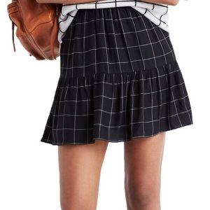 Madewell window pane mini skirt ruffle hem 10 NEW
